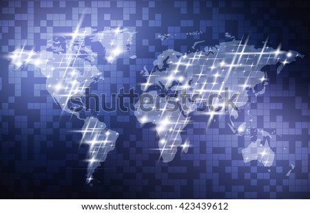 World Map. Abstract Digital Technology Background With World Map. Vector Template Design - stock vector