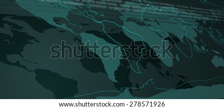 World Map Abstract Technology Background with Binary Stream. Vector Illustration - stock vector