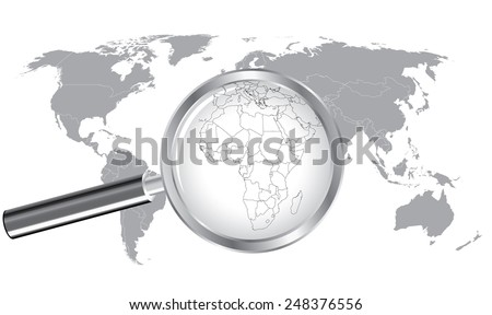 World Map Africa Wired Continent with Magnifier Glass - stock vector