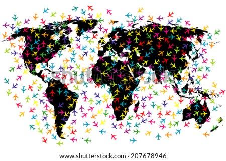 World map airline flights - stock vector