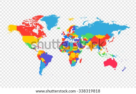 World Map All Countries Separate Layers Stock Vector 338319818