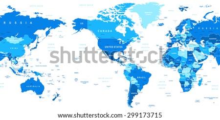 World map america center vector de stock299173715 shutterstock world map america in center gumiabroncs Image collections