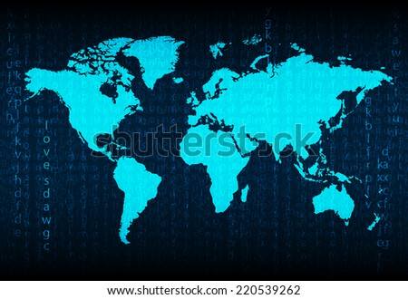 World map and compass of vector - stock vector