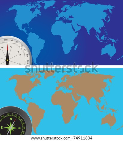 World map and compass. Vector illustration
