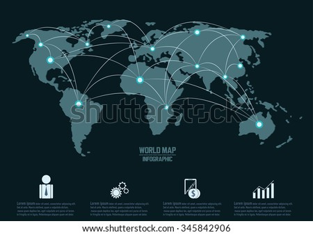 World map and connection, vector infographic - stock vector
