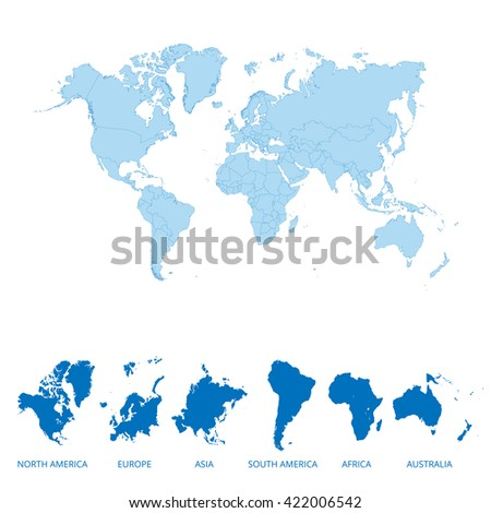 World map and continents map. Vector illustration. - stock vector