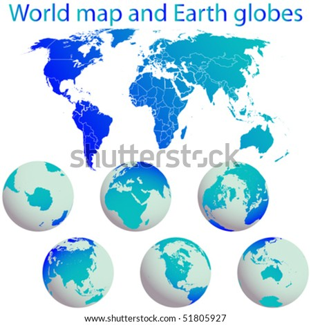 world map and earth globes against white background, abstract vector art illustration