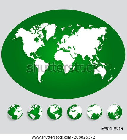 World map and earth globes. Vector illustration. - stock vector