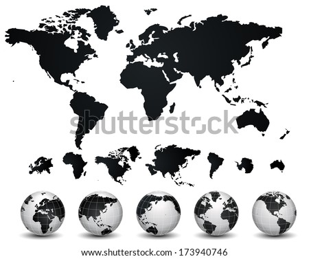 World Map and globe - stock vector