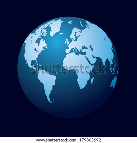 World map and globe. Detail vector illustration - stock vector