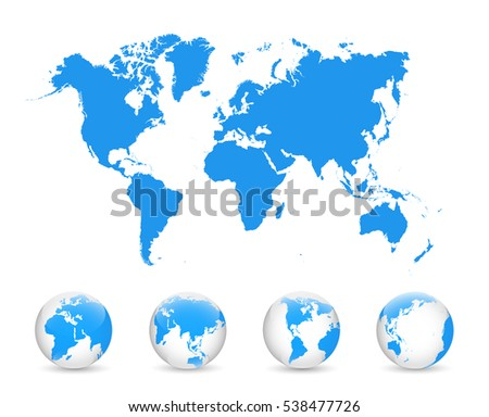 World Map and Globe Detail Vector Illustration, EPS 10.