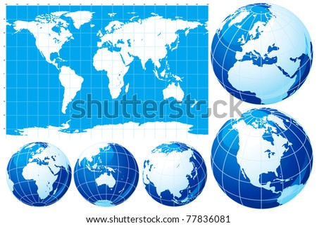 World map and globe. Vector set of  World map  and five kinds of globe - stock vector