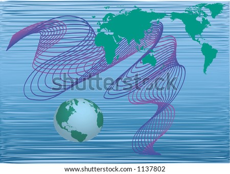 world map and globe with dynamic shapes - stock vector