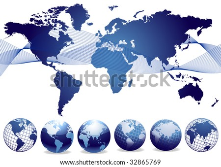 World map and globes collection vector - stock vector