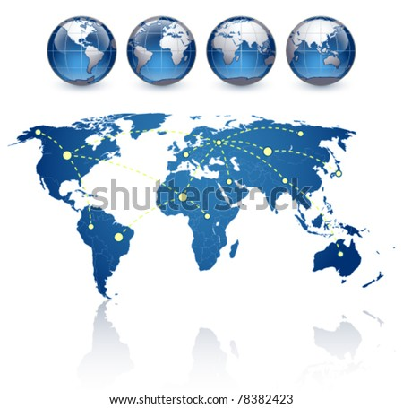world map and globes on a white background The base map is from http://www.lib.utexas.edu/maps/world.html - stock vector