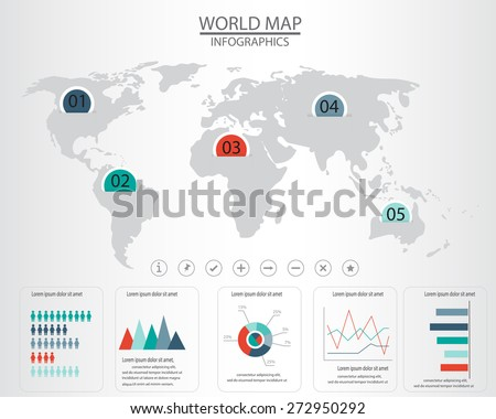 world map and  infographics elements. can be used for workflow layout, diagram, step up options, statistic elements, web design. Vector illustration.