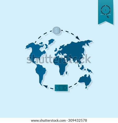 World map money business finance single stock vector 309432578 world map and money business and finance single flat icon simple and minimalistic gumiabroncs Gallery