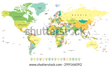 World Map and Navigation Icons - illustration - stock vector