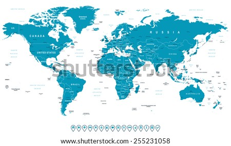 World map navigation icons illustration highly stock vector royalty world map and navigation icons illustration highly detailed world map countries cities gumiabroncs Images