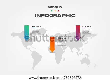World map arrow color infographics step stock vector 789849472 world map arrow color infographics step by step in a series of gradient block element gumiabroncs Image collections