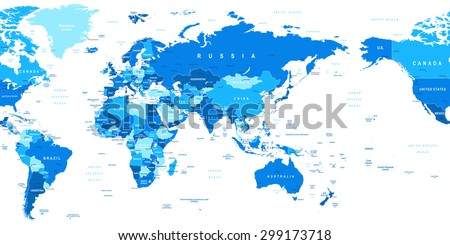 world map asia in center