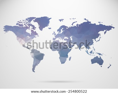 World map background in polygonal style background. - stock vector
