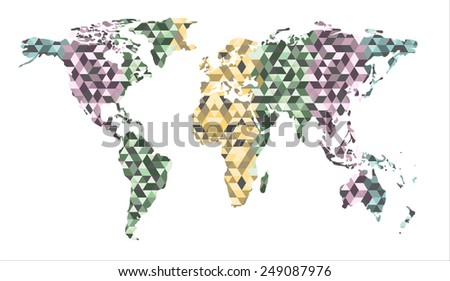 World map background in polygonal style. Vector - stock vector