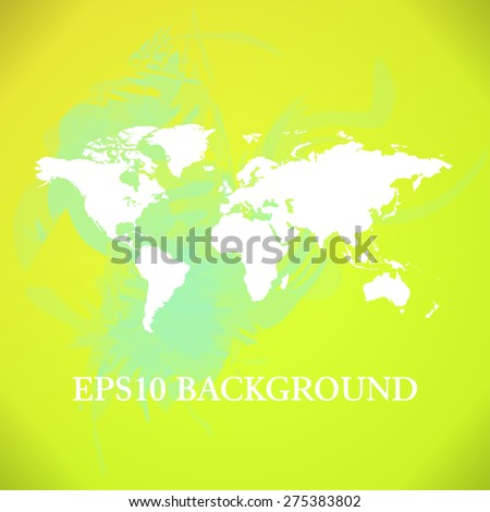 World Map background with green and yellow paint splashes