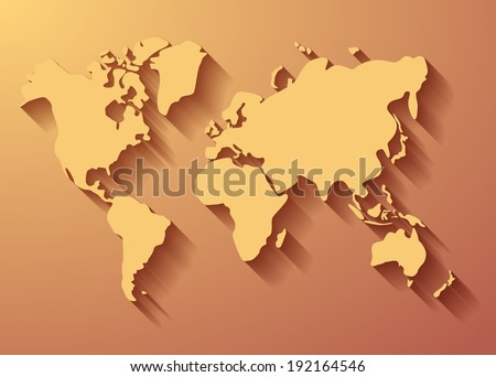 World map background with long shadow. Vector eps10. - stock vector