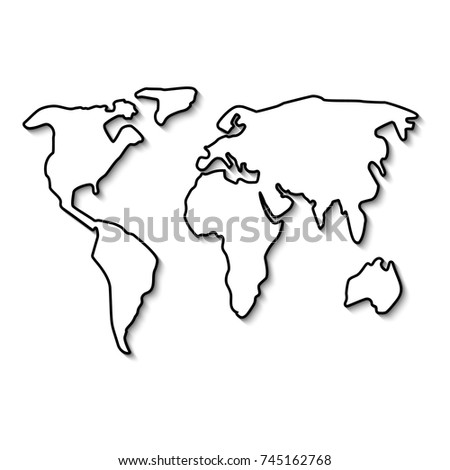 Template world map blank sheet beautiful coloring 7 continents best world map black line outline minimal style design vector illustration flat isolated on gumiabroncs Choice Image