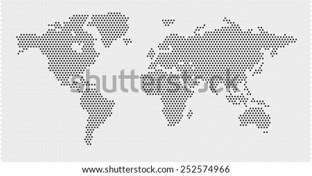 World map black white gray dots EPS 10 - stock vector