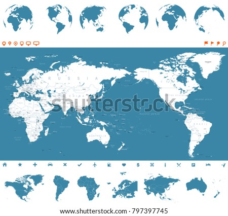 World map blue globes asia center stock vector 797397745 shutterstock world map blue and globes asia in center vector gumiabroncs Images