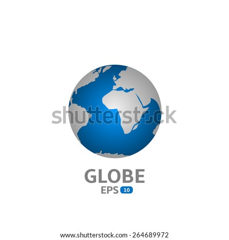 World Map. Blue Globe icon. Vector illustration. - stock vector