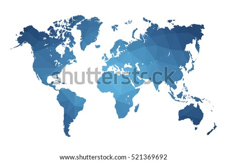 World map blue vector illustration in polygonal style on white background. Vector illustration eps 10.
