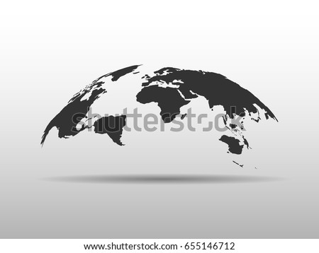 World map bulging shape globe abstract stock vector 655146712 world map bulging in a shape of globe abstract design 3d map with dropped shadow gumiabroncs Image collections