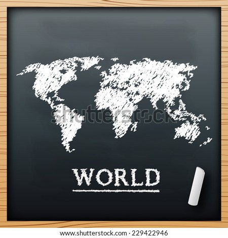 World map chalkboard design effect  in vector format - stock vector