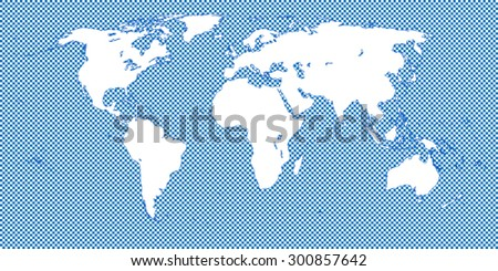 World Map Checkered Blue 2 Medium Squares - stock vector