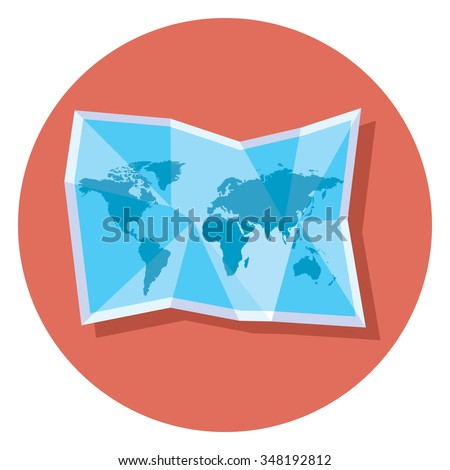 world map circle icon with shadow