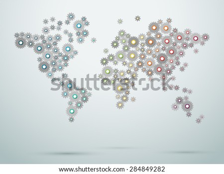 World Map Cogs Connections Vector 2 - stock vector