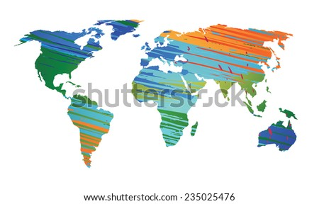 World map colored strokes color EPS 10 Vector - stock vector