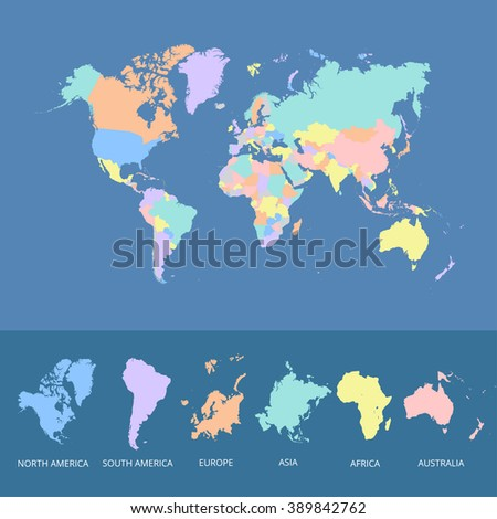 World map colorful - stock vector