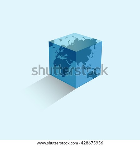 World map colorful. Earth in the form of a cube. Vector illustration. - stock vector