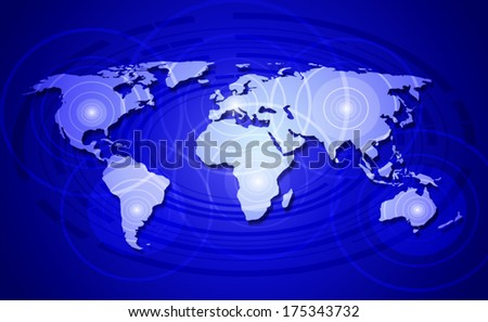 World map - concept of world network communication  - stock vector