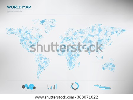 World map connection polygon Infographic.  Vector illustration   - stock vector
