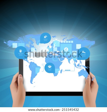 World map connection with tablet computer business technology concept, Creative networking information process data diagram, Vector illustration modern template design