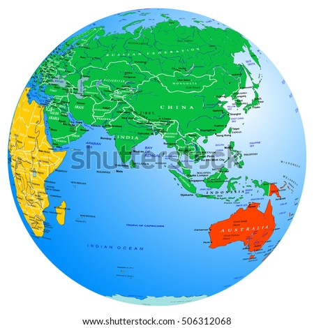World map continents countries globe planet vector de stock506312068 world map continents and countries globe planet earth eastern hemisphere asia indian gumiabroncs Gallery