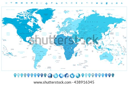 World map continents colors blue glossy stock vector 438916345 world map continents in colors of blue and glossy globes with map pointers gumiabroncs Image collections