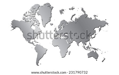 World map continents metal gradient planar - stock vector