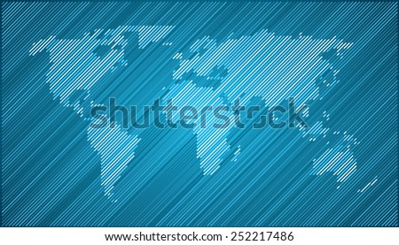 World map countries blue cyan diagonal lines - stock vector