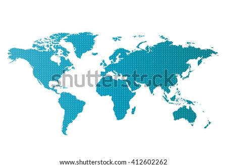 World map countries colorful with dots. Vector illustration.